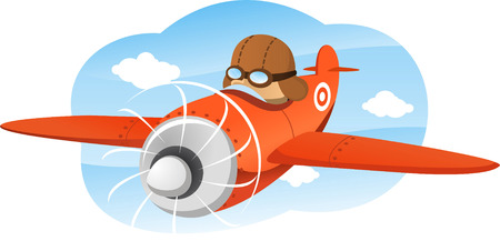 cartoon illustration of a boy riding an airplane.