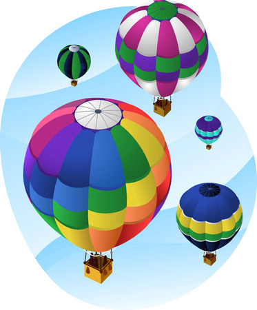 inflating: Hot Air Balloons in the sky, with five different air balloons in different colors and sizes going up to the sky. Vector illustration cartoon with sky background.