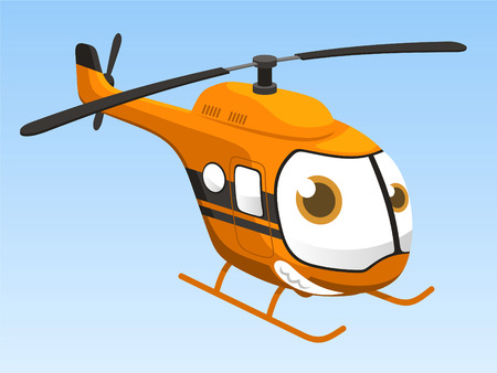 objects with clipping paths: helicopter cartoon vector illustration