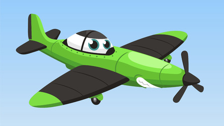 single engine airplane cartoon vector illustration 向量圖像