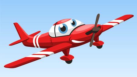 sportsplane airplane cartoon vector illustration
