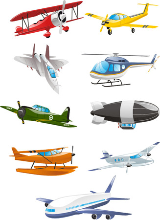 Airplane collection, with aircraft, airbus, airliner, large gasbags, airship, fixed wing aircraft, monoplane, biplane, rotary wing aircraft, gliders, kites, aircraft engines, propeller aircraft, airscrews, jet aircraft, helicopter, airspeed, military airc Stock Illustratie