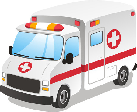 Cartoon ambulance. Emergency service. Vector Illustration Cartoon.