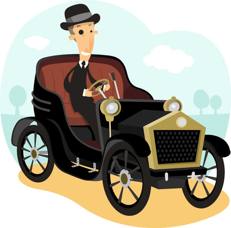 car tire: Antique Collector Car,with driver wearing a suit and bowler hat vector illustration cartoon.