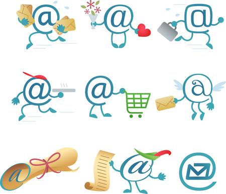 arobase: At character icons arobase internet, vector illustration cartoon.