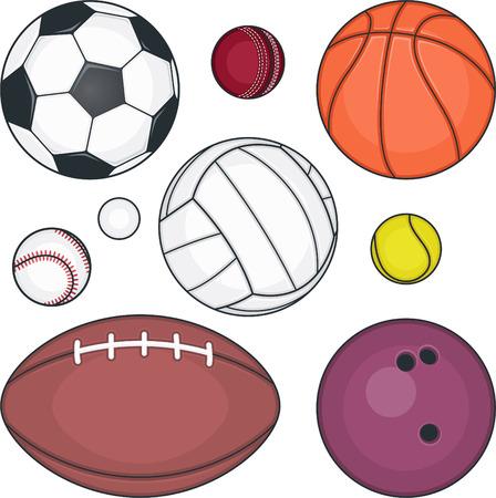 Bal collectie, met voetbal bal, Basketbal, Tennis bal, Softball bal, golfbal, rugby bal, Volleybal, Bowling bal. Vector illustratie cartoon. Stock Illustratie