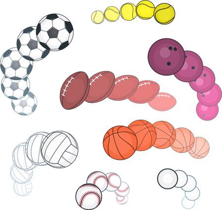Ball collection, with Football ball, Basket ball, Tennis ball, Softball ball, Golf ball, Rugby ball, Volley ball, Bowling ball. Vector illustration cartoon. Ilustração