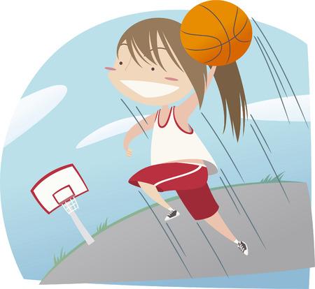 basketball dunk: Basketball girl dunk illustration Illustration