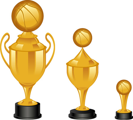 set of Basketball golden throphies Vector