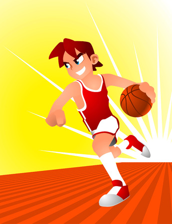 conquering adversity: basketball young player running through the court. Illustration