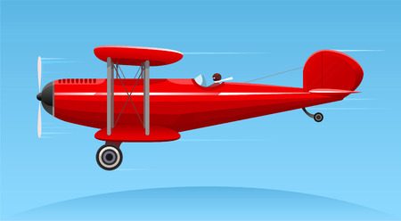 Biplane cartoon illustration Illustration