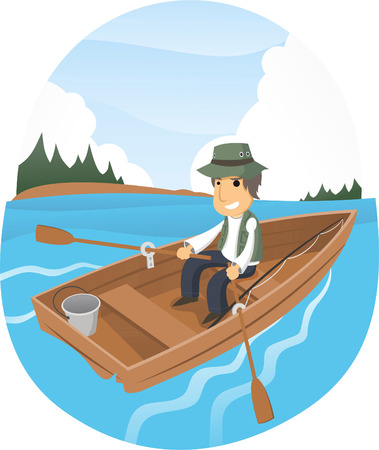 Vector cartoon illustration of a happy man gone fishing on a lake.