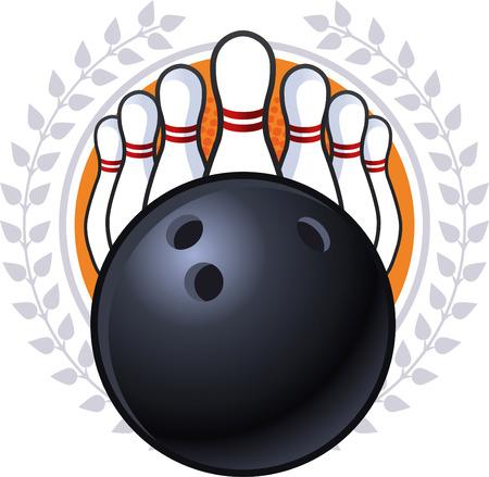 Bowling emblem illustration Illustration