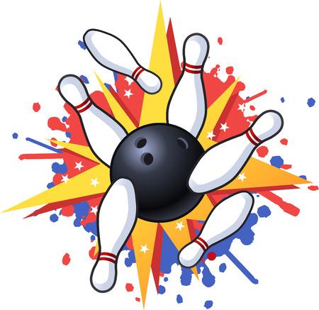 bowling strike: Bowling hit illustration Illustration