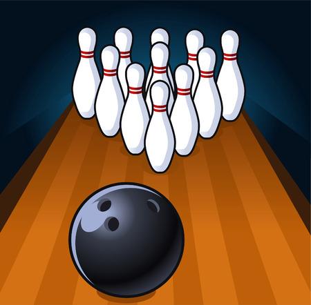 bagger: Bowling scene illustration