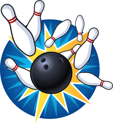 ten pin bowling: Bowling strike illustration