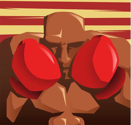 combative: Boxer close up illustration Illustration