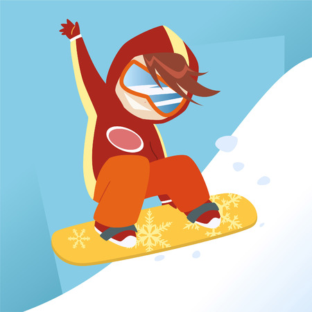 teenagers only: little boy making a jump in a snowboard.