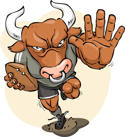 strong bull: Furious strong Bull playing rugby up to score, vector illustration cartoon. Illustration