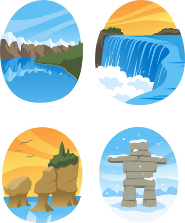 ontario: Canadian Nature Landmarks Canada Landmark, with Hopewell Rocks, Canadian Rockies, Canadian Rocky, Niagara Falls vector illustration cartoon.