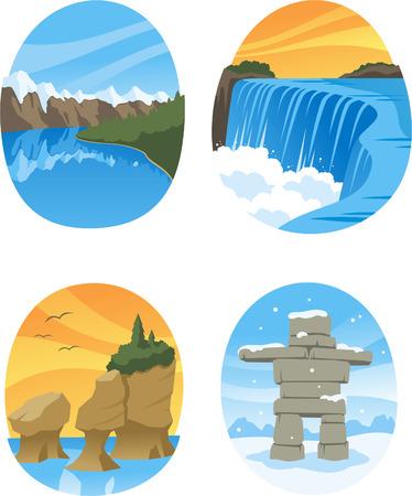 provincial: Canadian Nature Landmarks Canada Landmark, with Hopewell Rocks, Canadian Rockies, Canadian Rocky, Niagara Falls vector illustration cartoon.