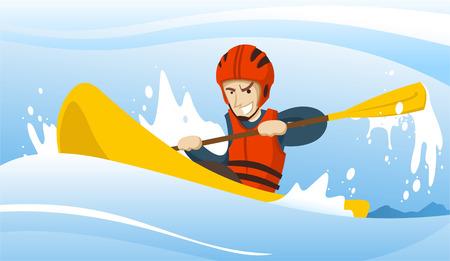Illustration of a man riding a kayak. Illustration