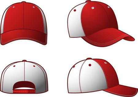 4 つの異なる視点からスポーティーな赤・白キャップ付けの衣類キャップ帽子。ベクトルの図。
