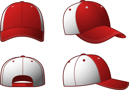 Clothing Cap Hats, with a sportive red & white cap from four different points of view. Vector illustration.