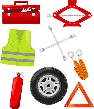 car emergency elements cartoon icons Illustration