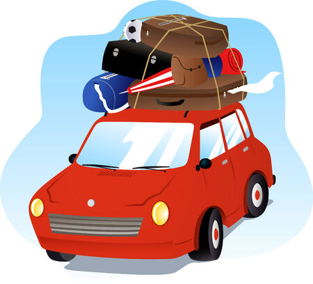 Going on Holidays Vacation Car with Luggage Vector
