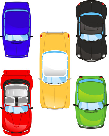 car top view set illustrations