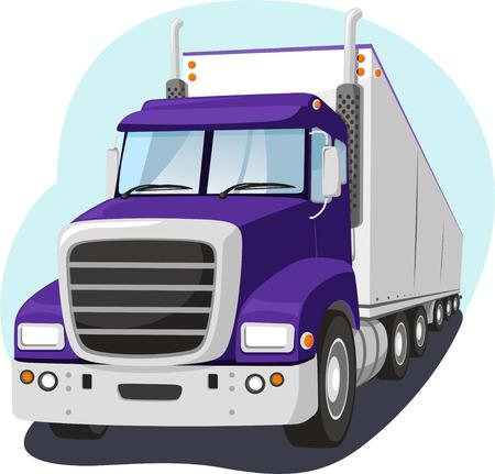 two lane highway: Cargo Truck Fright Transportation Industry, vector illustration cartoon.
