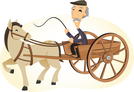 horses: Old man on a horse powered cart cartoon illustration