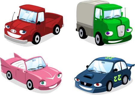 cartoon Car, Truk, Bus,  bus, motorbike, truck, race car, wagon and eco car. Illusztráció