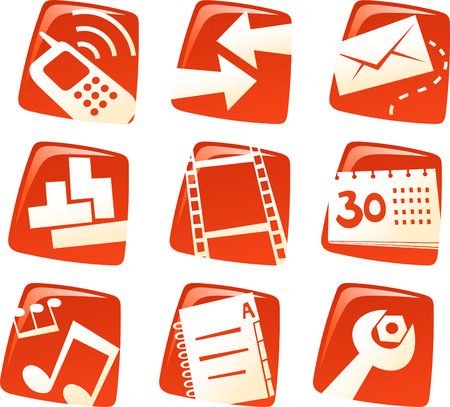 Cell phone communication icons collection. Ilustrace