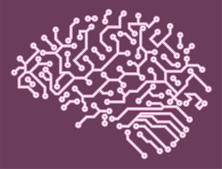 Brain Circuit Board Computer Chip Electronic Vector Illustration Cartoon.