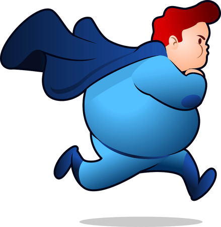 Chubby Superhero running to fight, with blue costume, brown hair vector illustration.
