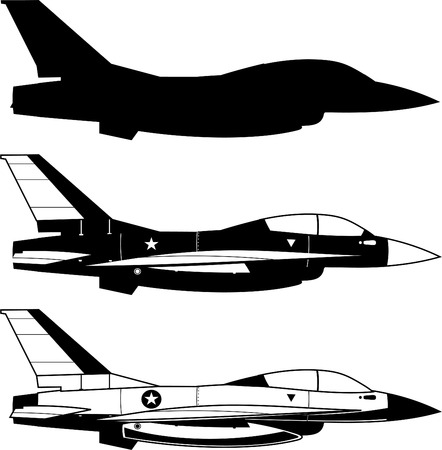Combat Airplane Military fighter aircraft vector illustration.