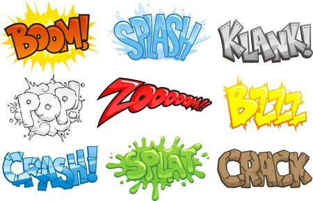 comico: C�mics de sonido de dibujos animados Efectos Onomatopeya, ilustraci�n vectorial de dibujos animados. Boom, splash, Klank, plop. zoom, bzzz, accidente, splat, crack. Vectores