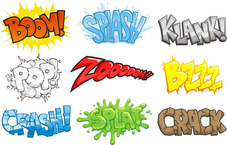 Comic Books Cartoon Geluidseffecten Onomatopee, vector illustratie cartoon. Boom, plons, klank, plop. zoom, Bzzz, crash, splat, kraken. Stock Illustratie