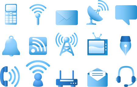 Blue communication icon set. Calculator, Signal, Envelope, Radar, Bubble Dialogue, Bell, TV, Quill, Phone, Headset. Vector Illustration Cartoon. Çizim