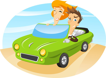 driving range: couple travelling on a sports car.