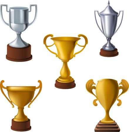 Cup throphies illustration collection Illusztráció