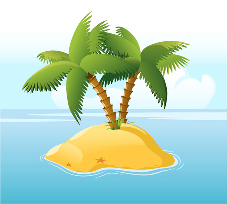 travel locations: Desert Island With Palm Trees Surrounded by Blue Sea and Star fish, with star shape vector illustration cartoon. Illustration