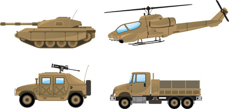Military Desert Tank, helicopter, trunk, land vehicle. Vector illustration.