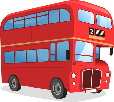 ロンドン二重デッカー バス漫画イラスト