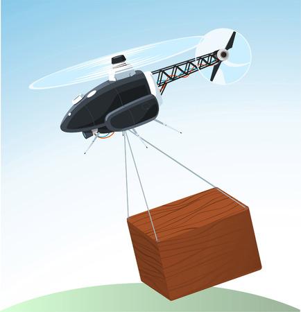 carrying box: drone llevando caja de dibujos animados Vectores