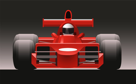 motorized sport: F1 Formula One Racing Icon Car, vector illustration cartoon.