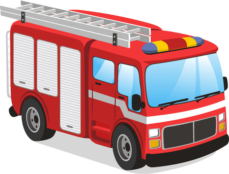 car side view: Fire truck cartoon illustration
