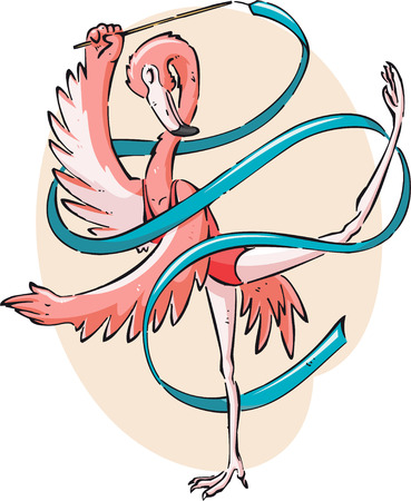 rhythmic gymnastic: Flamingo gimnastics illustration Illustration